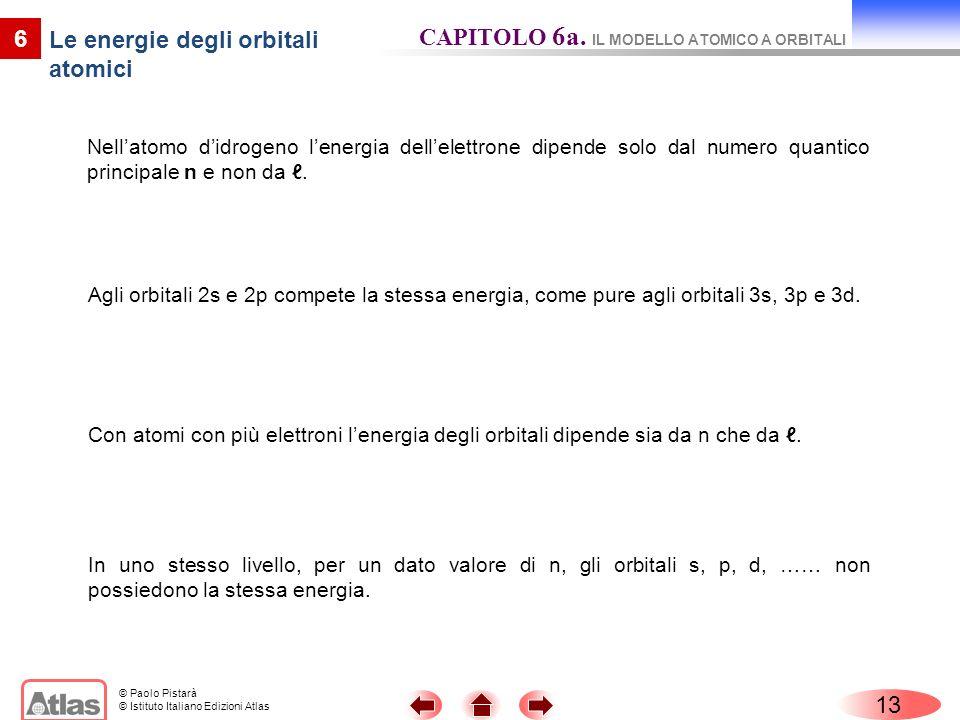 © Paolo Pistarà © Istituto Italiano Edizioni Atlas Nellatomo didrogeno lenergia dellelettrone dipende solo dal numero quantico principale n e non da.