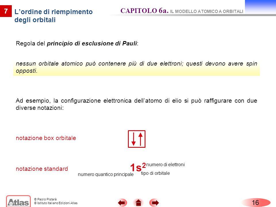 © Paolo Pistarà © Istituto Italiano Edizioni Atlas Regola del principio di esclusione di Pauli: 16 7 Lordine di riempimento degli orbitali CAPITOLO 6a
