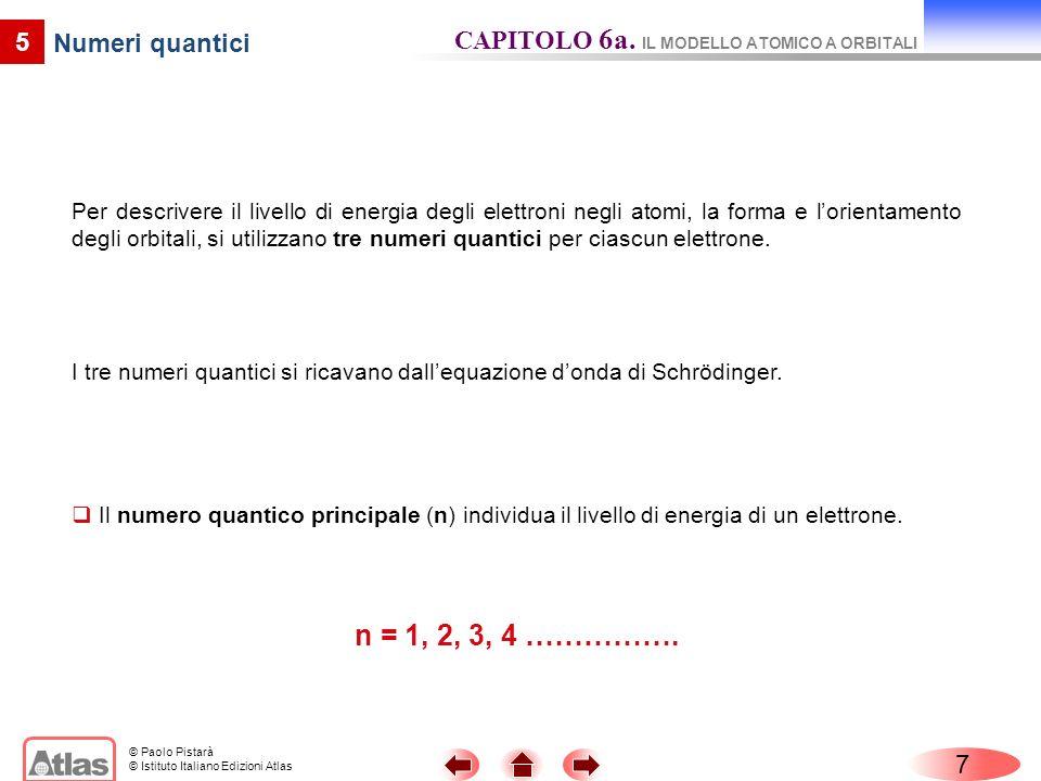 © Paolo Pistarà © Istituto Italiano Edizioni Atlas 8 5 Numeri quantici CAPITOLO 6a.