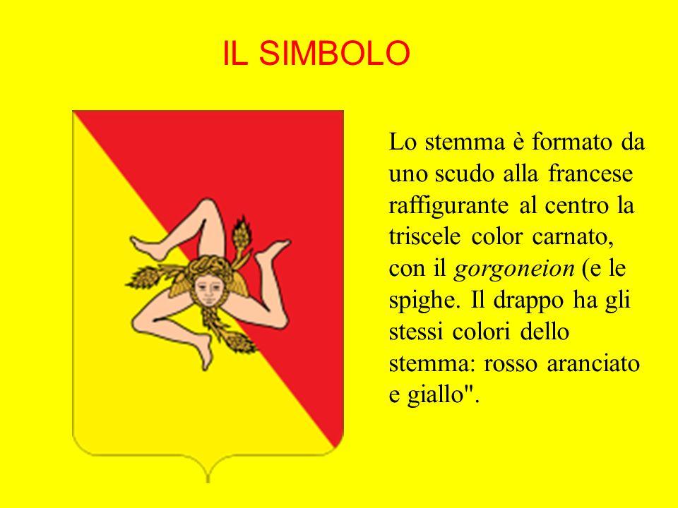 IL SIMBOLO Lo stemma è formato da uno scudo alla francese raffigurante al centro la triscele color carnato, con il gorgoneion (e le spighe. Il drappo