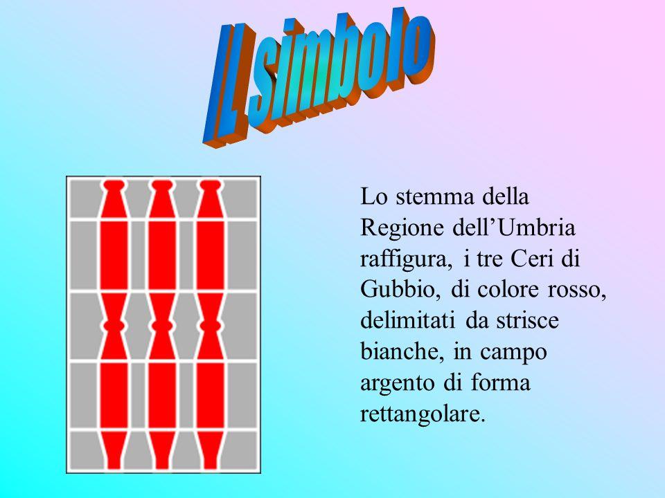 Lo stemma della Regione dellUmbria raffigura, i tre Ceri di Gubbio, di colore rosso, delimitati da strisce bianche, in campo argento di forma rettango