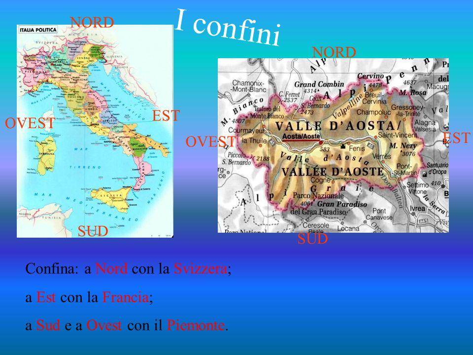 Confina: a Nord con la Svizzera; a Est con la Francia; a Sud e a Ovest con il Piemonte. NORD SUD EST OVEST SUD EST NORD I confini