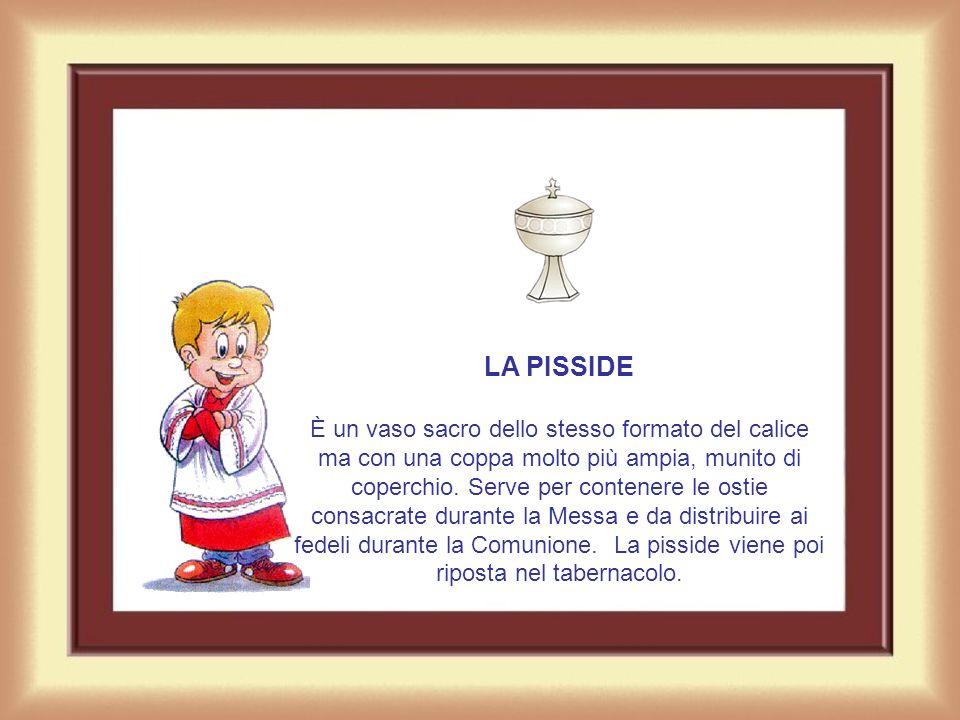 LA PATENA È un piattino di metallo prezioso, usato per posarvi lostia che sarà poi consacrata dal sacerdote durante la messa.