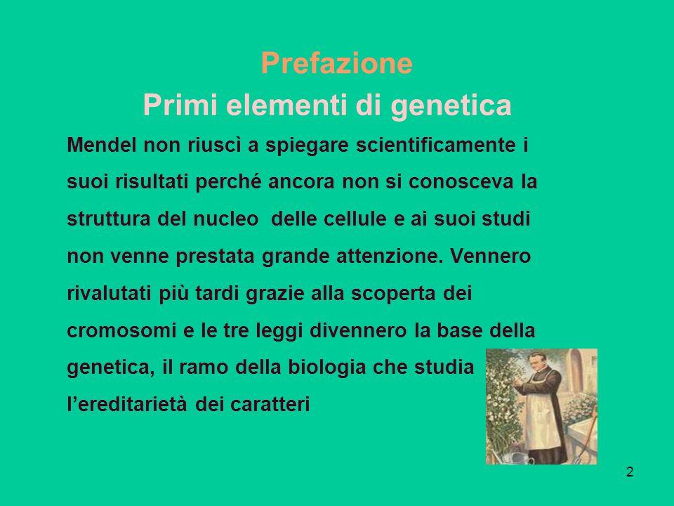 2 Prefazione Mendel non riuscì a spiegare scientificamente i suoi risultati perché ancora non si conosceva la struttura del nucleo delle cellule e ai suoi studi non venne prestata grande attenzione.