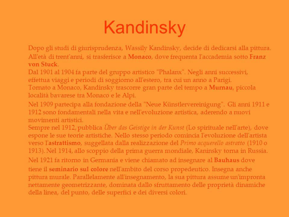 Kandinsky Dopo gli studi di giurisprudenza, Wassily Kandinsky, decide di dedicarsi alla pittura. All'età di trent'anni, si trasferisce a Monaco, dove