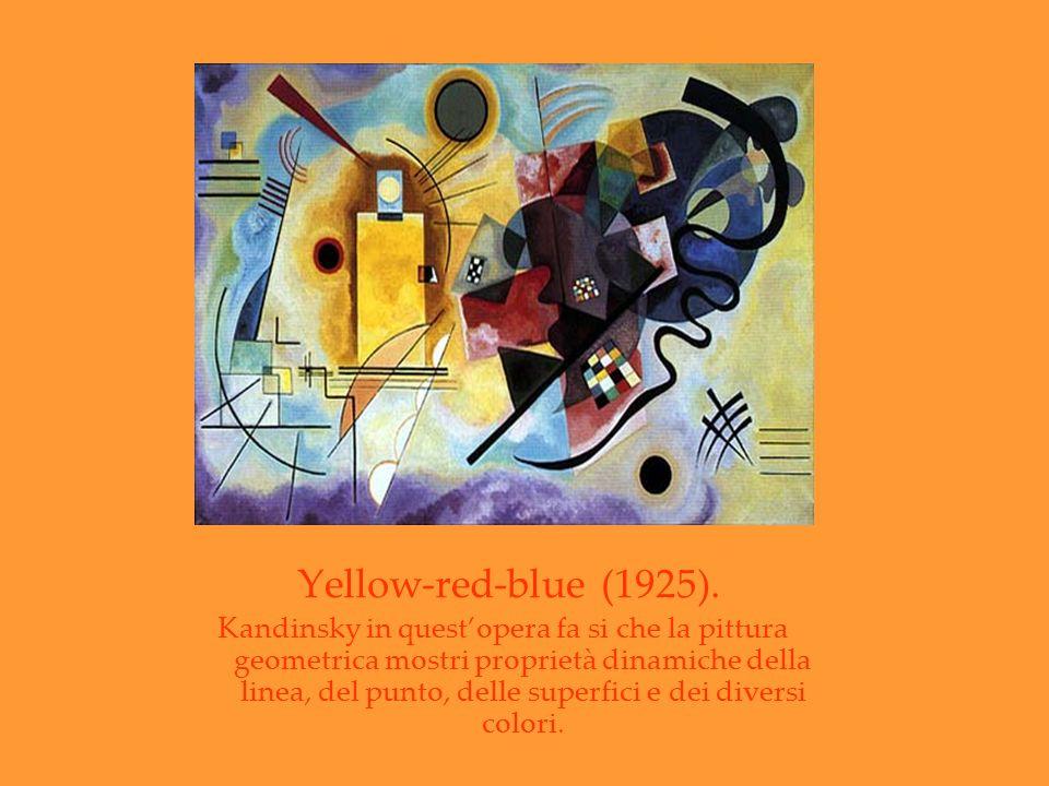 Yellow-red-blue (1925). Kandinsky in questopera fa si che la pittura geometrica mostri proprietà dinamiche della linea, del punto, delle superfici e d