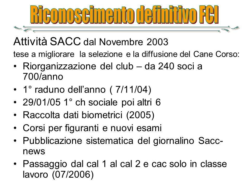 Attività SACC dal Novembre 2003 tese a migliorare la selezione e la diffusione del Cane Corso: Riorganizzazione del club – da 240 soci a 700/anno 1° r