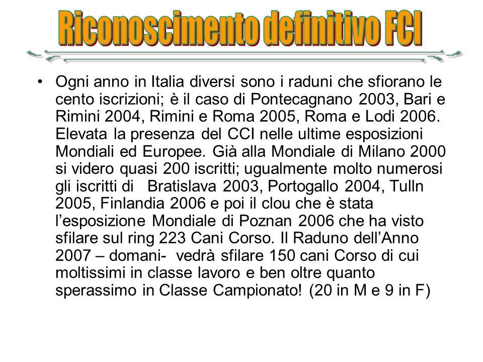 Ogni anno in Italia diversi sono i raduni che sfiorano le cento iscrizioni; è il caso di Pontecagnano 2003, Bari e Rimini 2004, Rimini e Roma 2005, Ro
