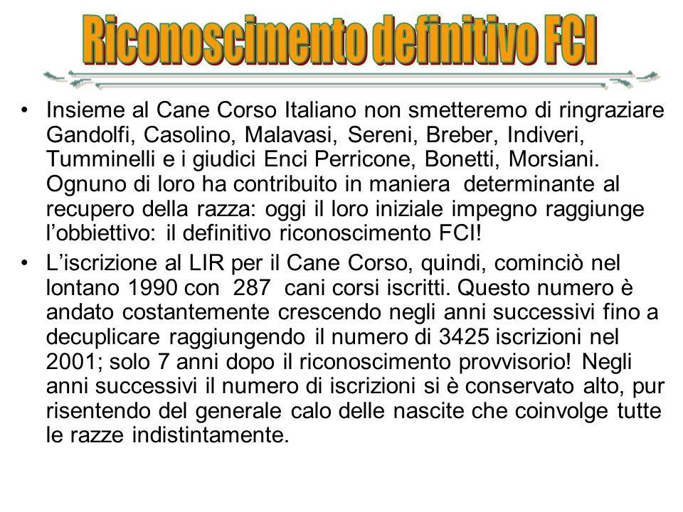 Insieme al Cane Corso Italiano non smetteremo di ringraziare Gandolfi, Casolino, Malavasi, Sereni, Breber, Indiveri, Tumminelli e i giudici Enci Perri