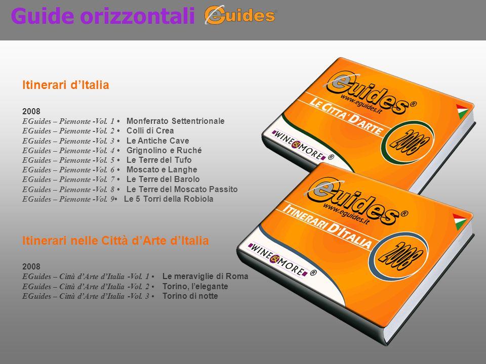 Guide orizzontali Itinerari dItalia 2008 EGuides – Piemonte -Vol. 1 Monferrato Settentrionale EGuides – Piemonte -Vol. 2 Colli di Crea EGuides – Piemo