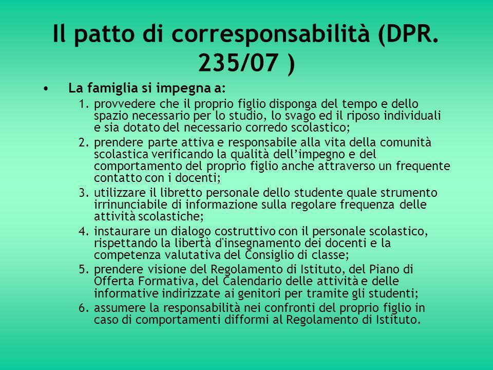 Il patto di corresponsabilità (DPR.
