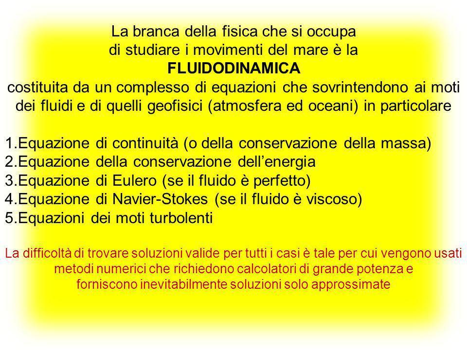 La branca della fisica che si occupa di studiare i movimenti del mare è la FLUIDODINAMICA costituita da un complesso di equazioni che sovrintendono ai