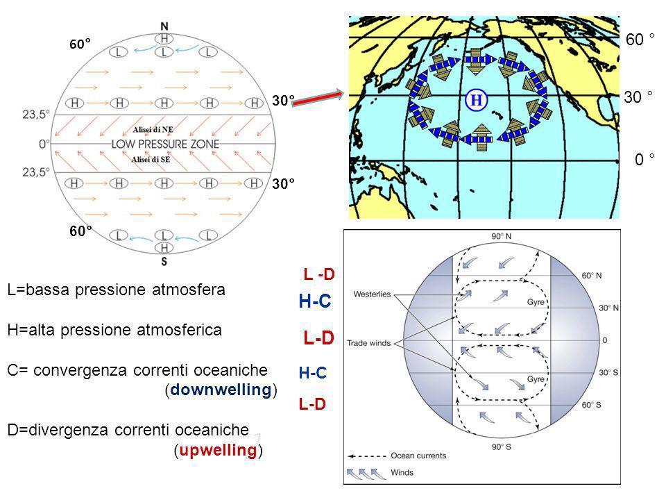 L-D H-C L -D H-C L=bassa pressione atmosfera H=alta pressione atmosferica C= convergenza correnti oceaniche (downwelling) D=divergenza correnti oceani
