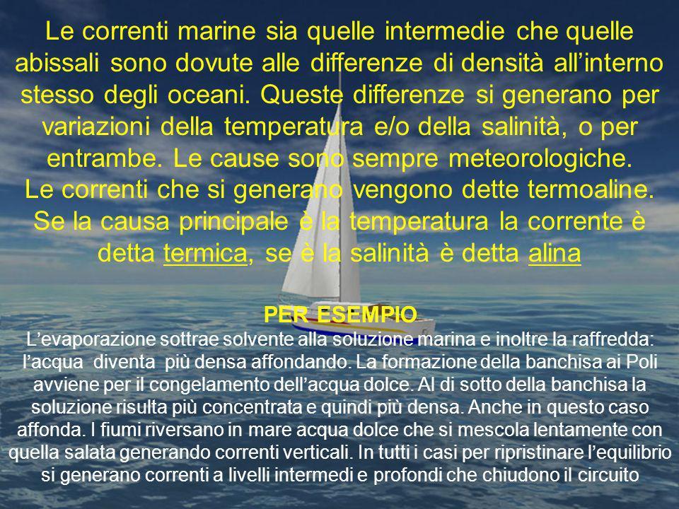 Le correnti marine sia quelle intermedie che quelle abissali sono dovute alle differenze di densità allinterno stesso degli oceani. Queste differenze