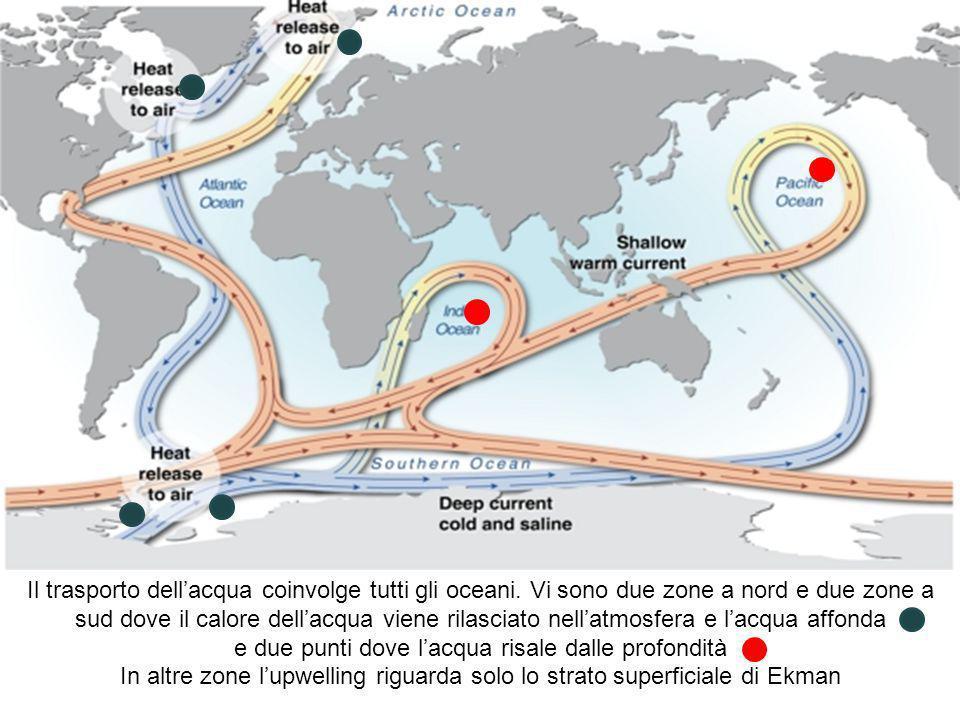 Il trasporto dellacqua coinvolge tutti gli oceani. Vi sono due zone a nord e due zone a sud dove il calore dellacqua viene rilasciato nellatmosfera e