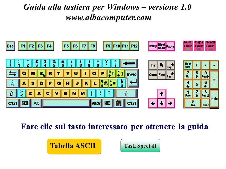 Tastiera (Keyboards) Guida alla tastiera per Windows – versione 1.0 www.albacomputer.com Fare clic sul tasto interessato per ottenere la guida Tasti S