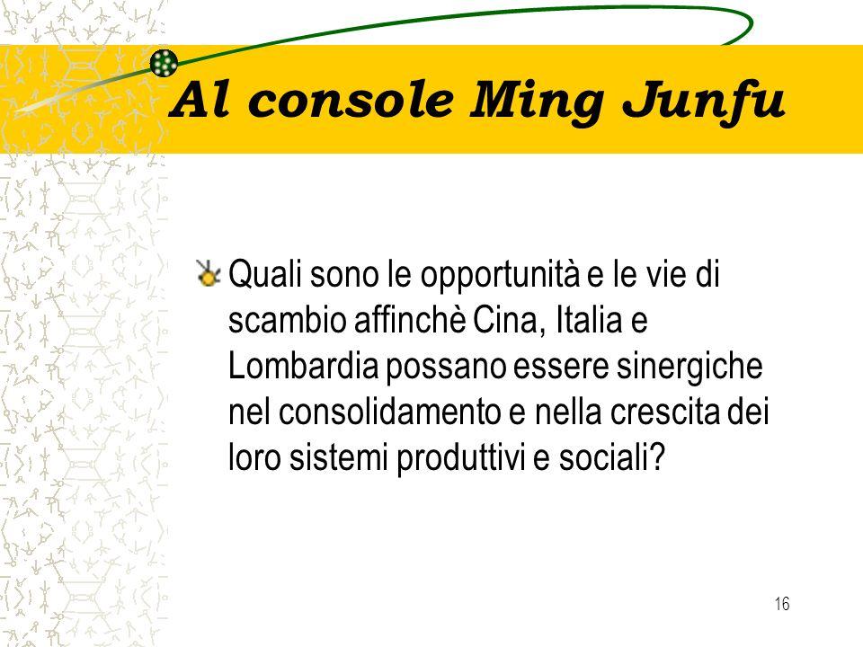 16 Al console Ming Junfu Quali sono le opportunità e le vie di scambio affinchè Cina, Italia e Lombardia possano essere sinergiche nel consolidamento