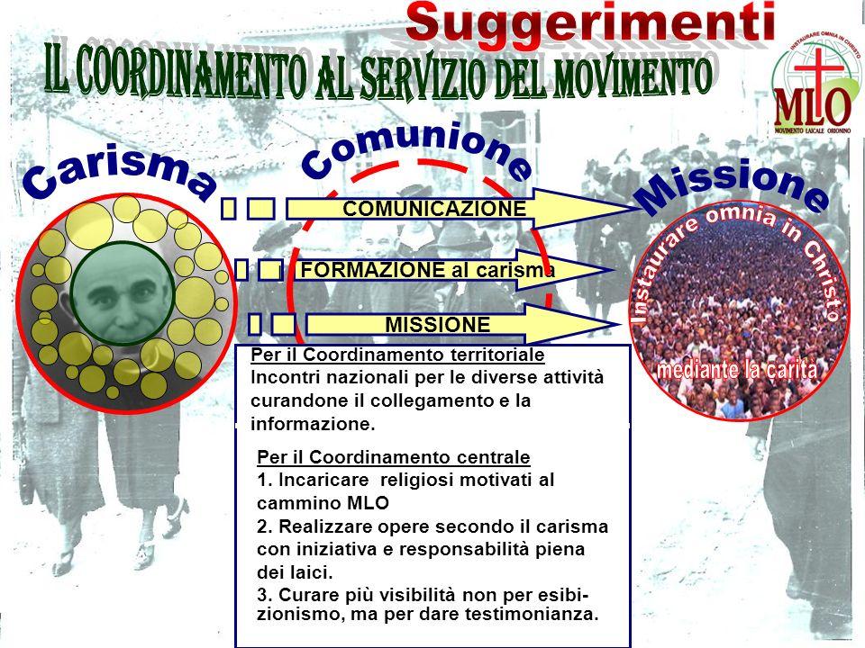 FORMAZIONE al carisma COMUNICAZIONE MISSIONE l Per il Coordinamento centrale 1.