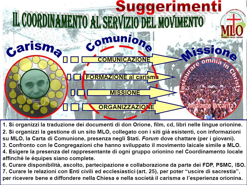 FORMAZIONE al carisma ORGANIZZAZIONE COMUNICAZIONE MISSIONE l 1.