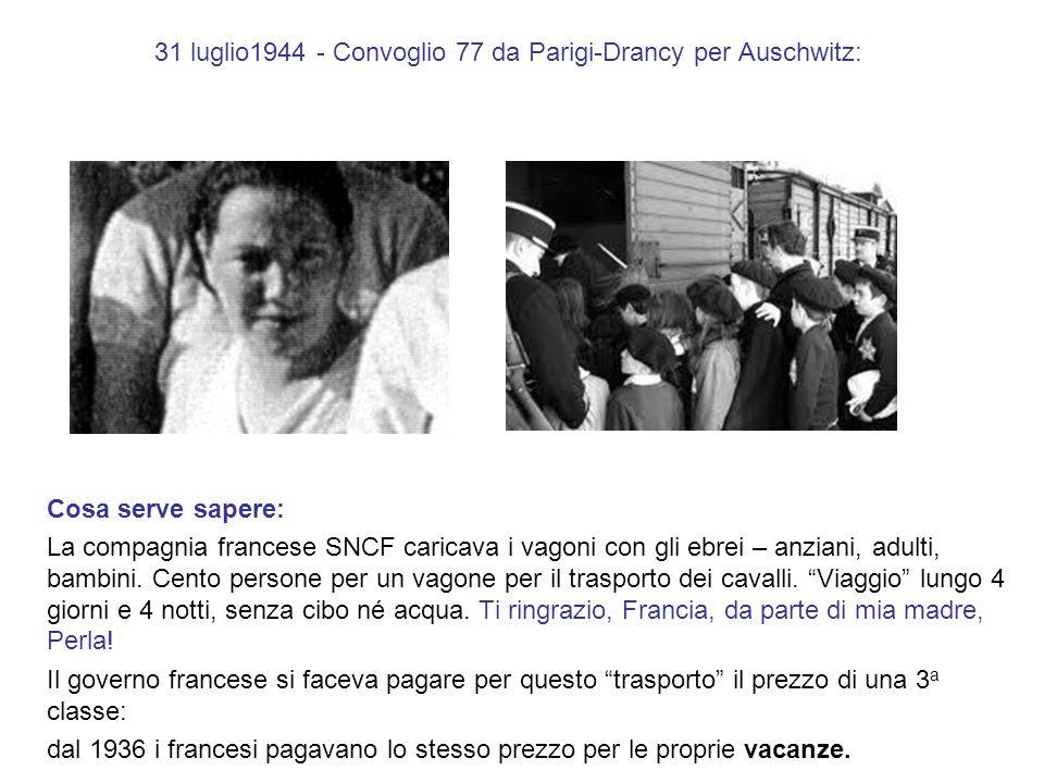 Parigi – Drancy, 31 luglio 1941 - Auschwitz, 4 agosto 1944: Cosa serve sapere: Perla, banchina (Auschwitz), 4 agosto 1944, doccia, forno e la cenere di mia madre nel cielo della Polonia.