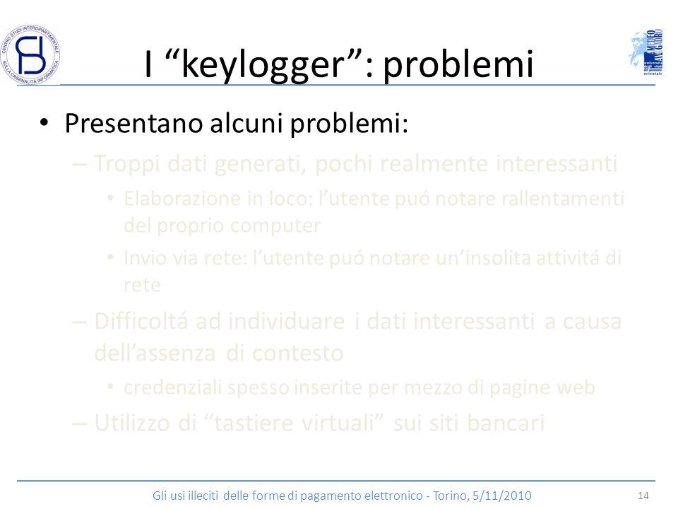 I keylogger: problemi Presentano alcuni problemi: – Troppi dati generati, pochi realmente interessanti Elaborazione in loco: lutente puó notare rallen