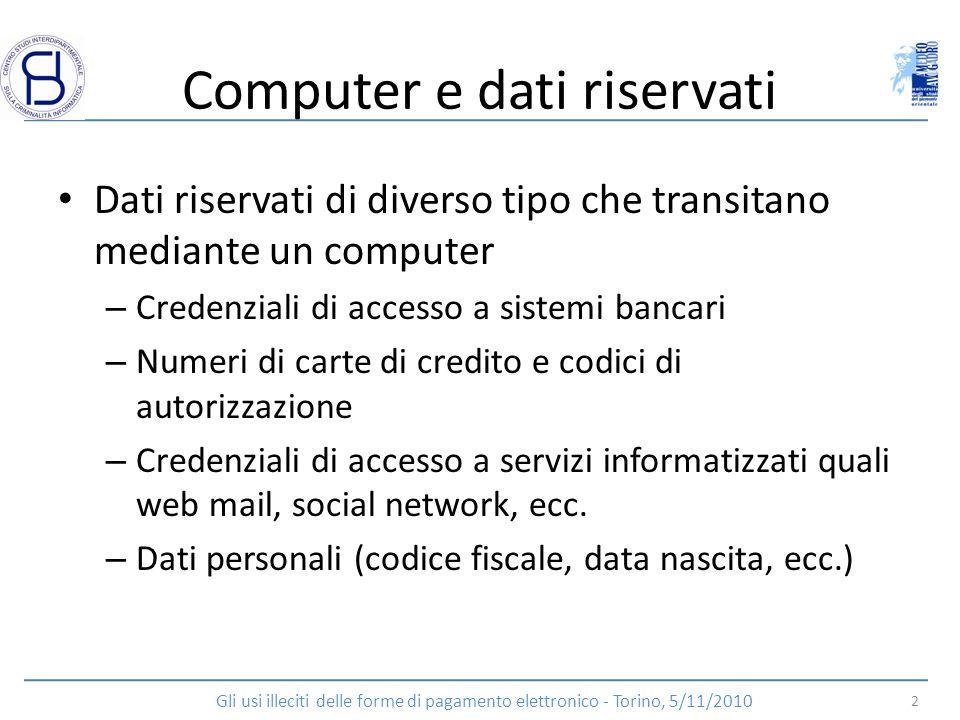 Computer e dati riservati Dati riservati di diverso tipo che transitano mediante un computer – Credenziali di accesso a sistemi bancari – Numeri di ca