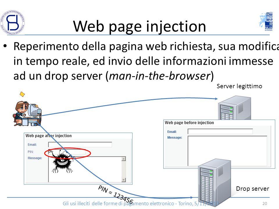 Web page injection Reperimento della pagina web richiesta, sua modifica in tempo reale, ed invio delle informazioni immesse ad un drop server (man-in-