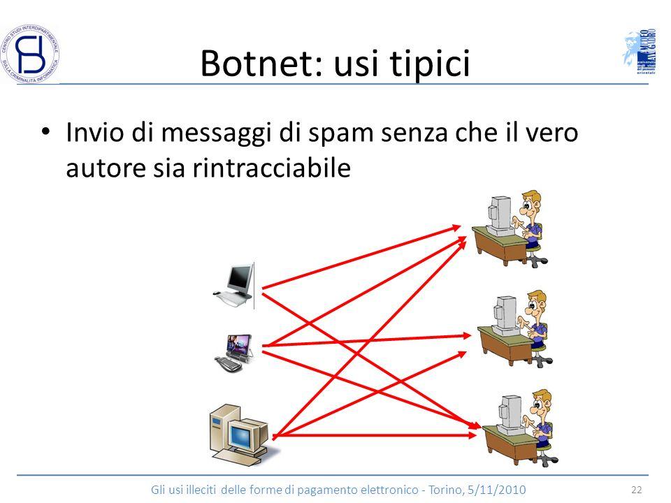 Botnet: usi tipici Invio di messaggi di spam senza che il vero autore sia rintracciabile 22 Gli usi illeciti delle forme di pagamento elettronico - To