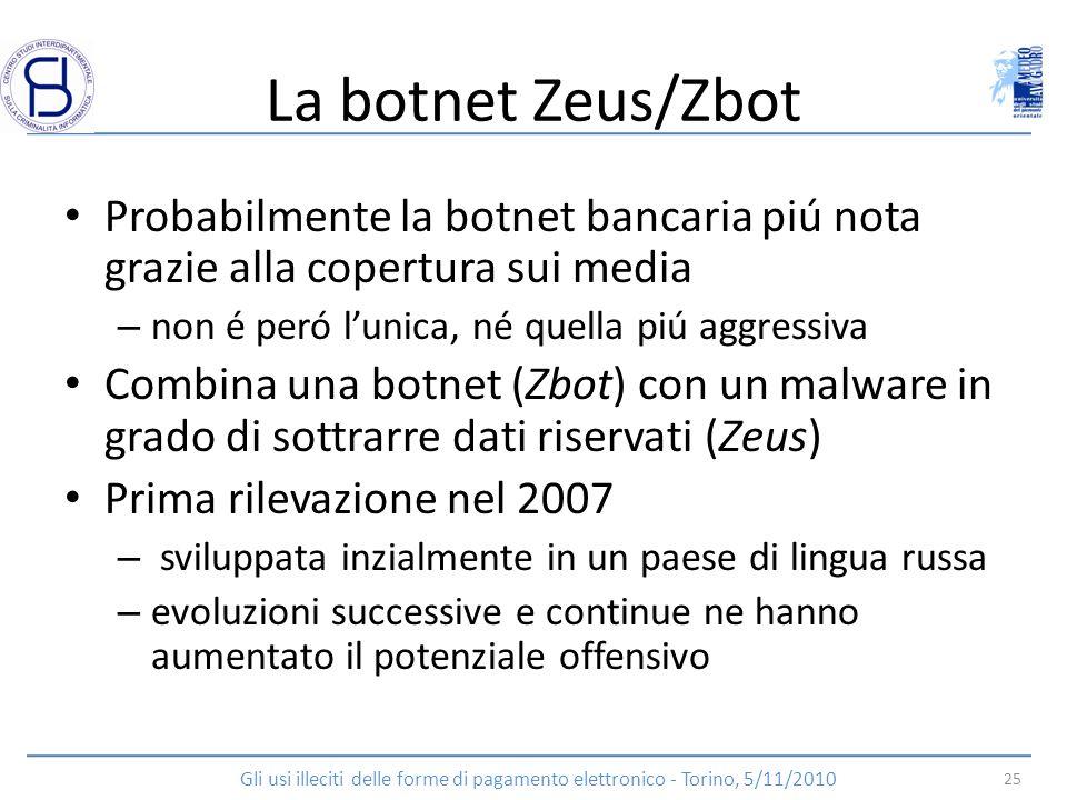 La botnet Zeus/Zbot Probabilmente la botnet bancaria piú nota grazie alla copertura sui media – non é peró lunica, né quella piú aggressiva Combina un