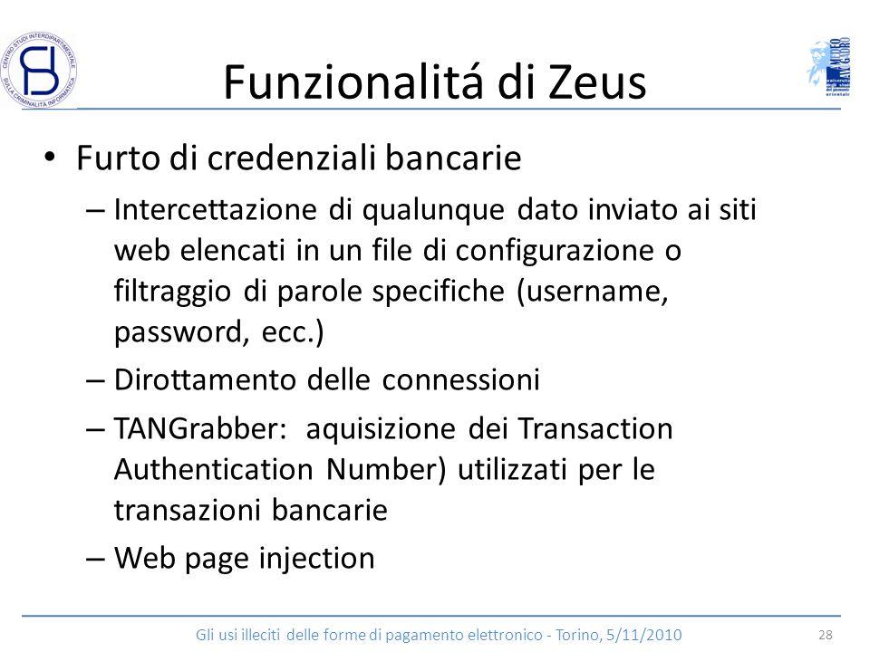 Funzionalitá di Zeus Furto di credenziali bancarie – Intercettazione di qualunque dato inviato ai siti web elencati in un file di configurazione o fil