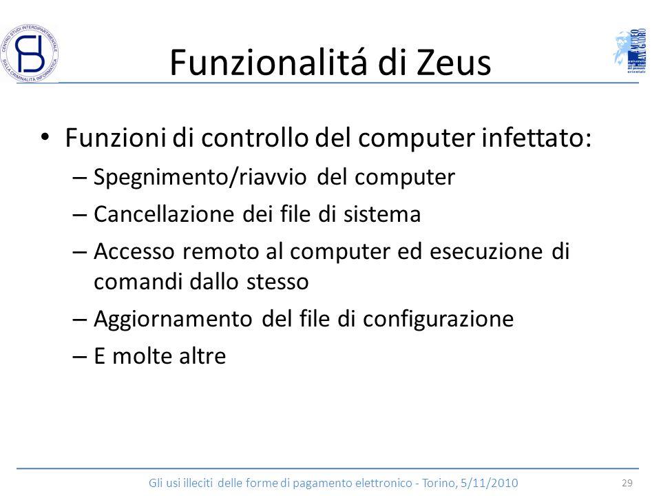 Funzionalitá di Zeus Funzioni di controllo del computer infettato: – Spegnimento/riavvio del computer – Cancellazione dei file di sistema – Accesso re