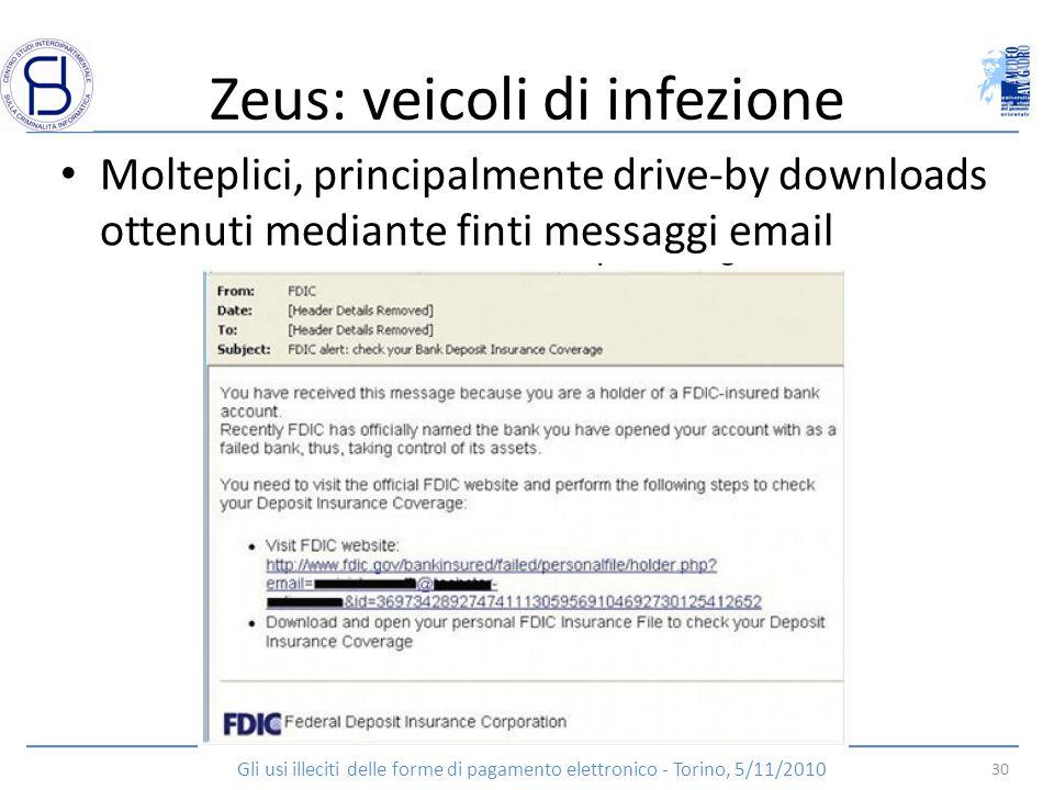 Zeus: veicoli di infezione Molteplici, principalmente drive-by downloads ottenuti mediante finti messaggi email 30 Gli usi illeciti delle forme di pag