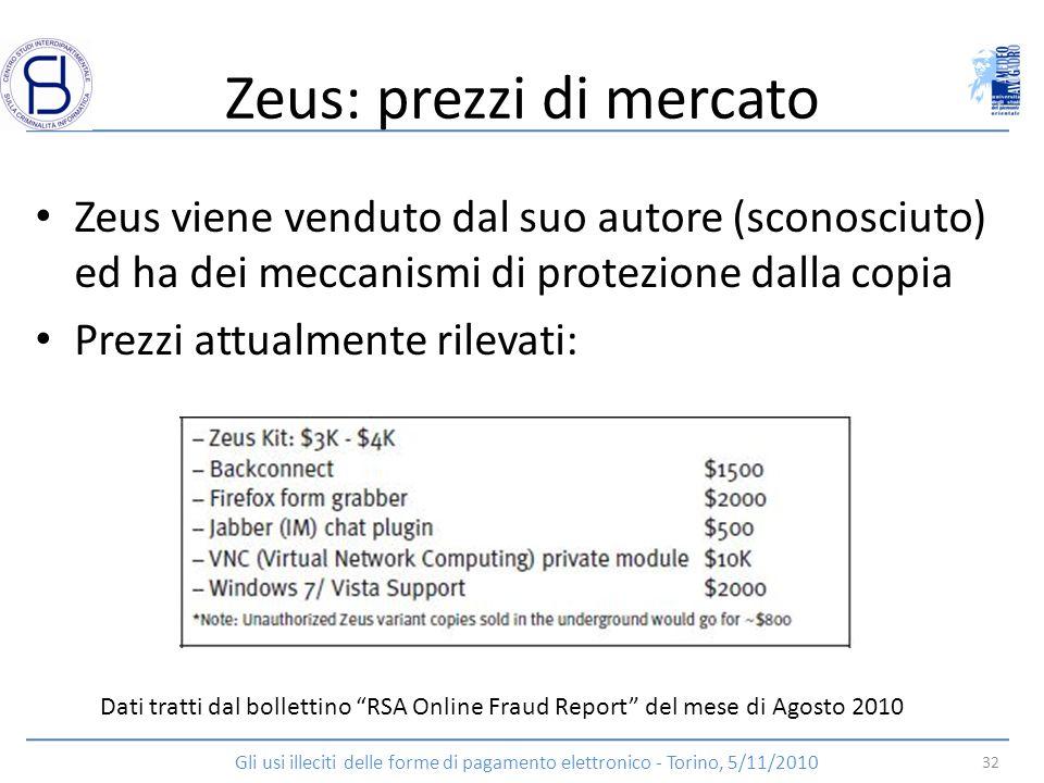 Zeus: prezzi di mercato Zeus viene venduto dal suo autore (sconosciuto) ed ha dei meccanismi di protezione dalla copia Prezzi attualmente rilevati: Da