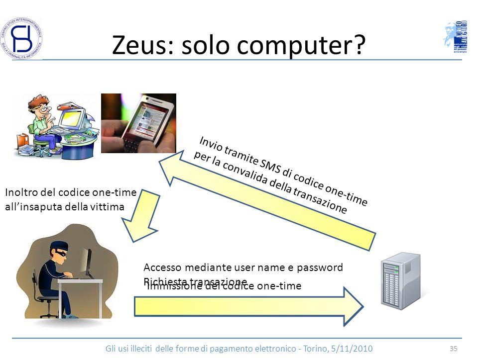 Zeus: solo computer? Accesso mediante user name e password Richiesta transazione Invio tramite SMS di codice one-time per la convalida della transazio