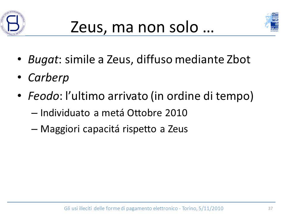Zeus, ma non solo … Bugat: simile a Zeus, diffuso mediante Zbot Carberp Feodo: lultimo arrivato (in ordine di tempo) – Individuato a metá Ottobre 2010