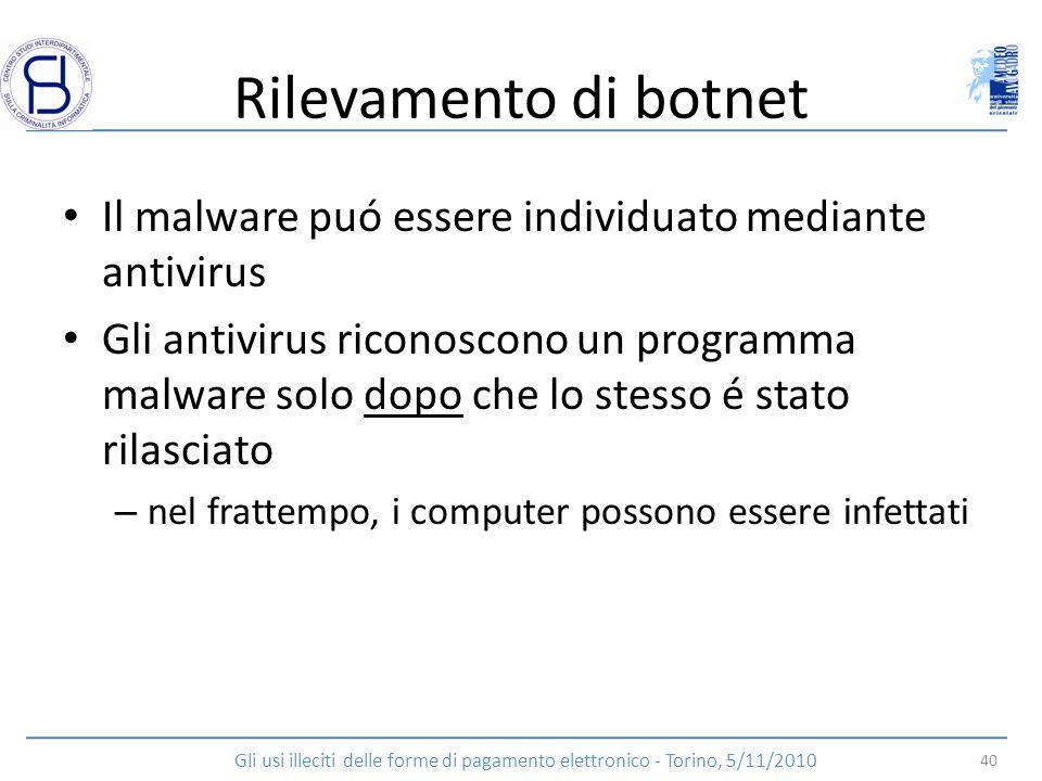 Rilevamento di botnet Il malware puó essere individuato mediante antivirus Gli antivirus riconoscono un programma malware solo dopo che lo stesso é st
