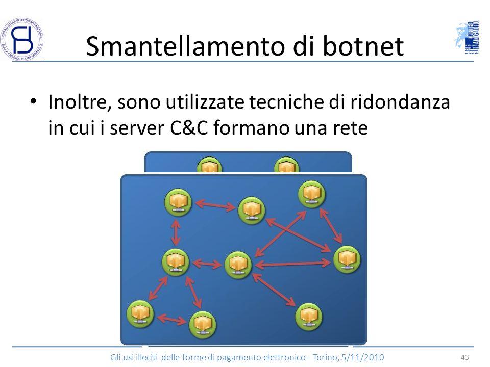 Smantellamento di botnet Inoltre, sono utilizzate tecniche di ridondanza in cui i server C&C formano una rete 43 Gli usi illeciti delle forme di pagam