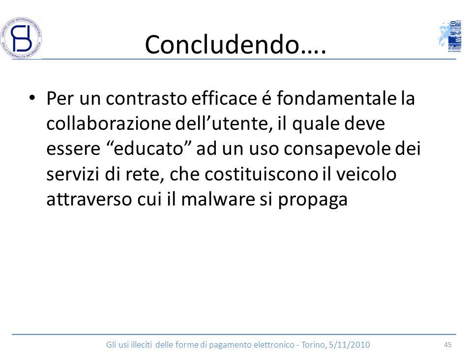 Concludendo…. Per un contrasto efficace é fondamentale la collaborazione dellutente, il quale deve essere educato ad un uso consapevole dei servizi di