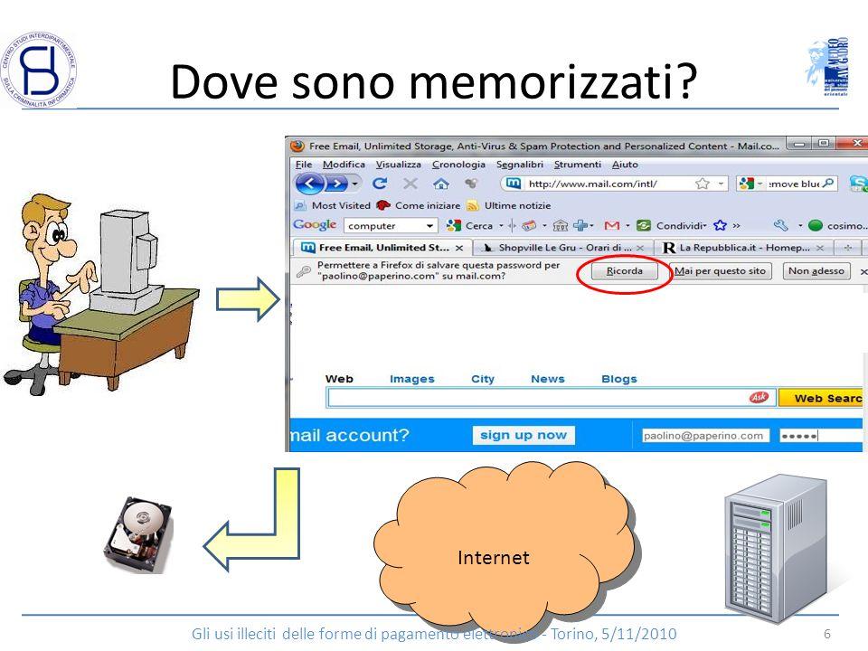 Dove sono memorizzati? Internet 6 Gli usi illeciti delle forme di pagamento elettronico - Torino, 5/11/2010