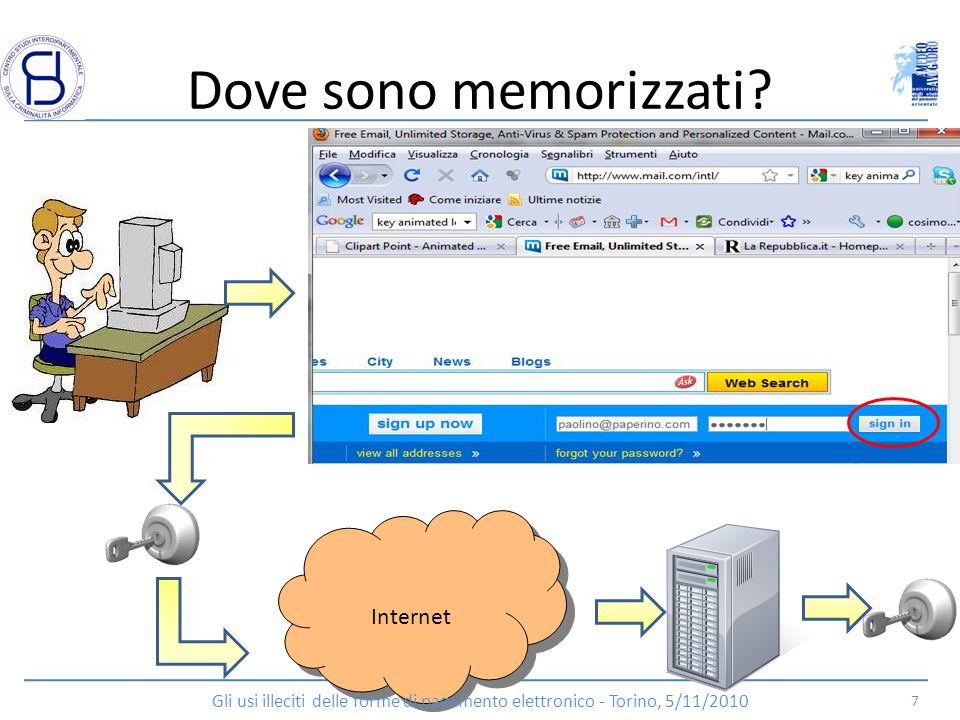 Dove sono memorizzati? Internet 7 Gli usi illeciti delle forme di pagamento elettronico - Torino, 5/11/2010