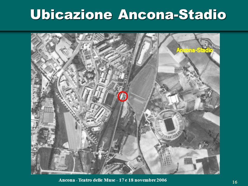 Ancona - Teatro delle Muse - 17 e 18 novembre 2006 15 Ubicazione fermate linea adriatica Ancona-stadio Camerano-Aspio Torrette Cesano