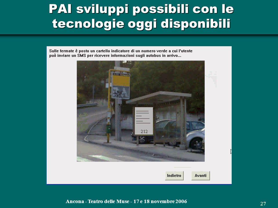 Ancona - Teatro delle Muse - 17 e 18 novembre 2006 26 PAI Il sistema delle fermate su Googlemap satellitare