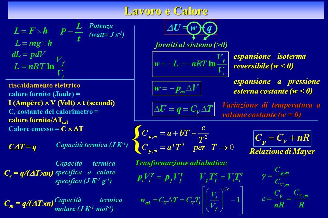 Lavoro e Calore riscaldamento elettrico calore fornito (Joule) = I (Ampère) V (Volt) t (secondi) C, costante del calorimetro = calore fornito/ T cal C