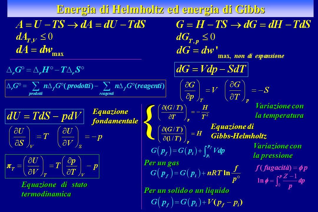 Energia di Helmholtz ed energia di Gibbs Equazione fondamentale Equazione di stato termodinamica Equazione di Gibbs-Helmholtz } Per un solido o un liq