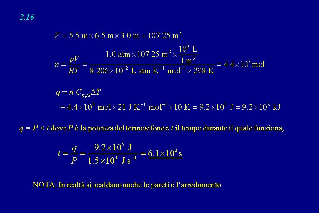 2.16 q = P × t dove P è la potenza del termosifone e t il tempo durante il quale funziona, NOTA: In realtà si scaldano anche le pareti e larredamento