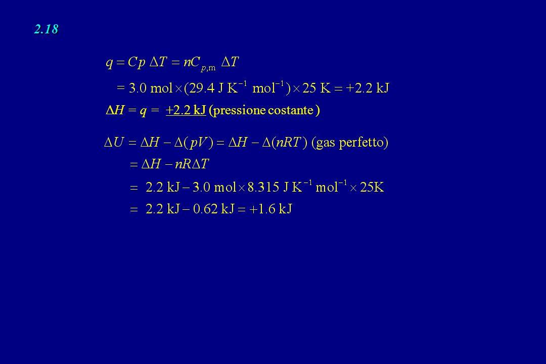 2.18 ΔH = q = +2.2 kJ (pressione costante )