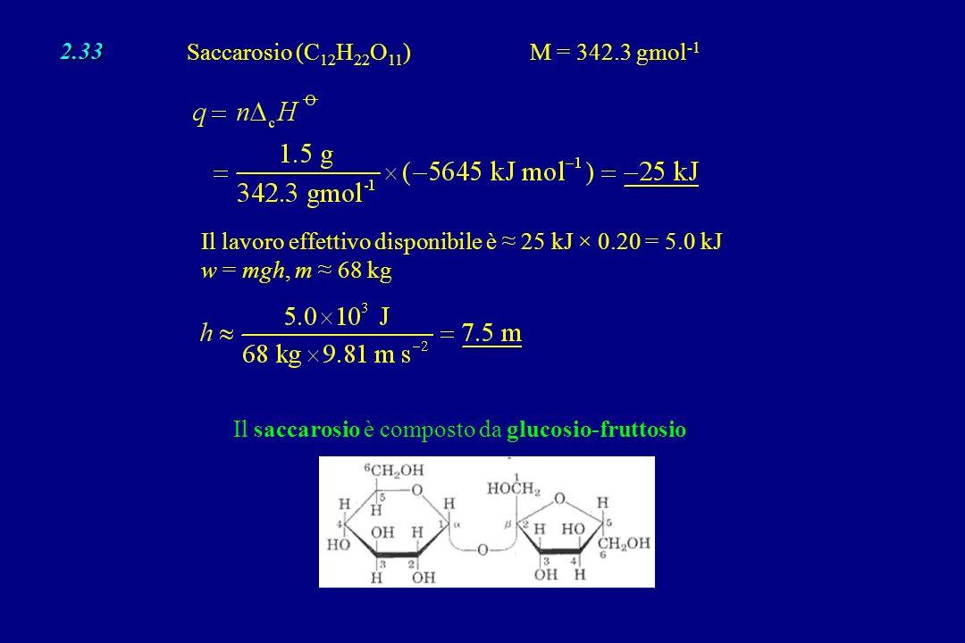 3.11 (b) Poiché il processo di vaporizzazione si può eseguire reversibilmente, S total = 0; Quindi: S ambiente = –87.8 J K –1 mol –1