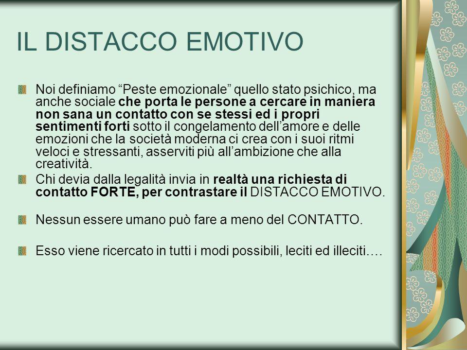 IL DISTACCO EMOTIVO Noi definiamo Peste emozionale quello stato psichico, ma anche sociale che porta le persone a cercare in maniera non sana un conta