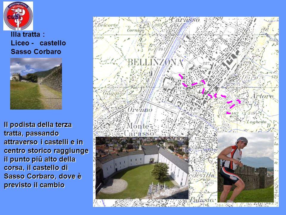 Il podista della terza tratta, passando attraverso i castelli e in centro storico raggiunge il punto piû alto della corsa, il castello di Sasso Corbar