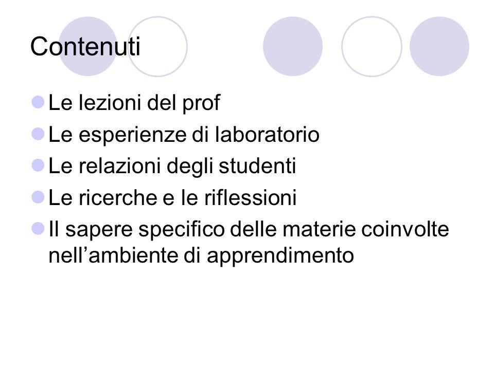 Contenuti Le lezioni del prof Le esperienze di laboratorio Le relazioni degli studenti Le ricerche e le riflessioni Il sapere specifico delle materie coinvolte nellambiente di apprendimento